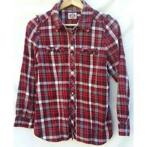 Juicy Couture Shirt Red Plaid Ruffle Tie Back 4